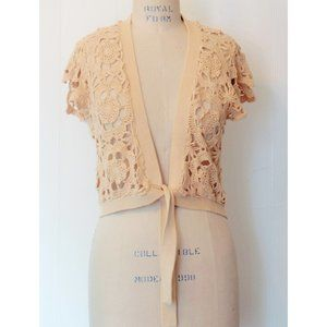 OLD NAVY CAMEL TAN CROCHET KNIT TIE SHRUG XL